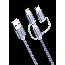 Кабель USB 2.0 3-в-1, microUSB/Lightning/typeC, текстил.оплетка, зарядка 1.2м OLMIO