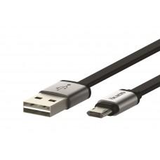 Кабель USB 2.0 - microUSB, 1м, 2.1А, двухсторонний, плоский, OLMIO