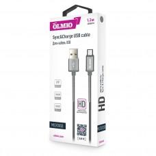 Кабель HD, USB 2.0 - microUSB, 1.2м, 2.1A, серый, OLMIO