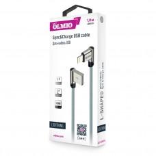 Кабель USB 2.0 - Lightning, 1м, угловой, тканевая оплетка, цвет серый, OLMIO