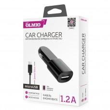 АЗУ OLMIO USB 1.2A +microUSB кабель, чёрный