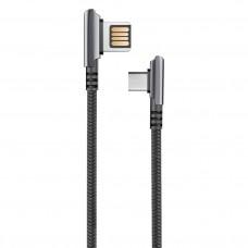 Кабель HANDY, USB 2.0 - Type-C, 1,2м, 2.1А, угловой, двухстороний, черный OLMIO