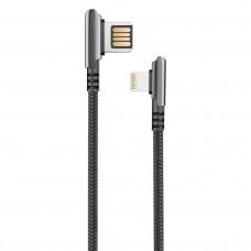 Кабель HANDY, USB 2.0 - lighting, 1,2м, 2.1А, угловой, двухстороний, черный OLMIO