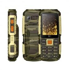 Сотовый телефон BQ M-2430 Tank Power Camouflage Gold 4000mAh, 2 фонарика, функция Powerbank